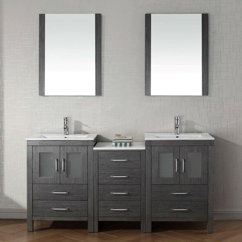 66 double sink vanity. Cartagena 66  Double Bathroom Vanity Set With Ceramic Top And Mirror Mercury Row