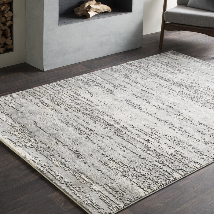 Brooks Distressed Modern Abstract Grey Cream Area Rug