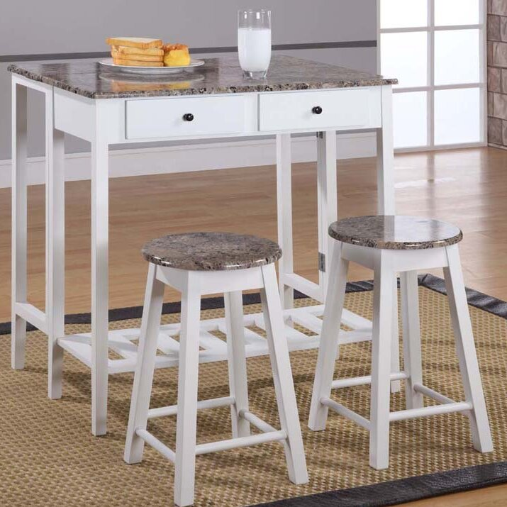 winston porter cardwell breakfast 3 piece dining table set & reviews Breakfast Table and Chairs