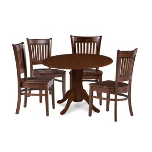 Miriam 5 Piece Drop Leaf Solid Wood Dining Set