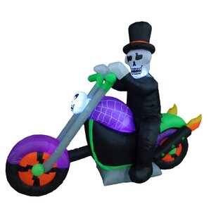 Halloween Inflatable Skeleton on Motorcycle