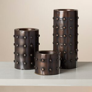 3 Piece Pillar Metal Candlestick Set