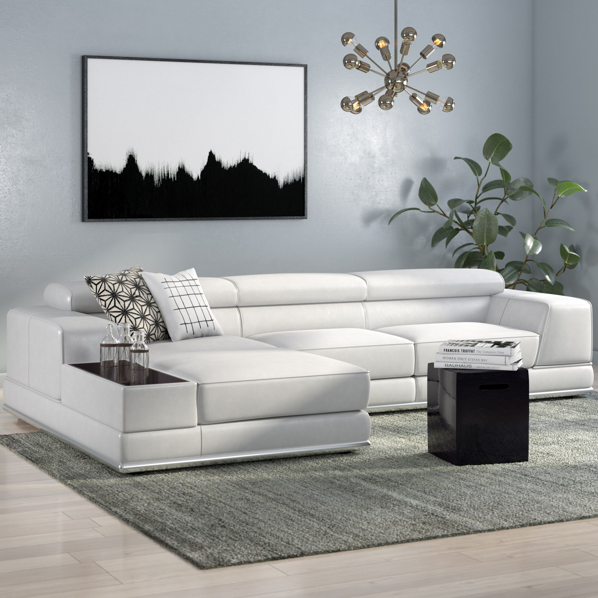 Manatuto Left Hand Facing Leather Reclining Sectional