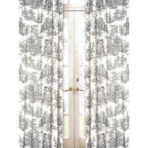 French Toile Semi-Sheer Rod Pocket Single Curtain Panel (Set of 2)