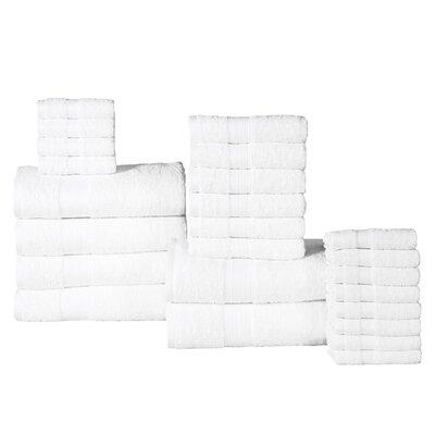 The Twillery Co. Arias 24 Piece 100% Cotton Towel Set Color: White