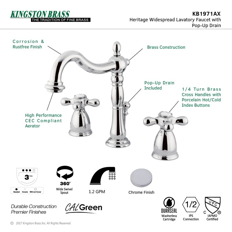 Kingston Brass Heritage Widespread Bathroom Faucet with Drain ...