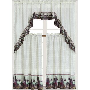 Wine Graphic Print Text Semi Sheer Rod Pocket Single Curtain Panel