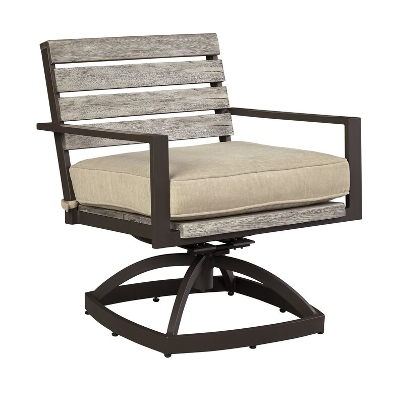 Lilah Swivel Patio Dining Chair With Cushion