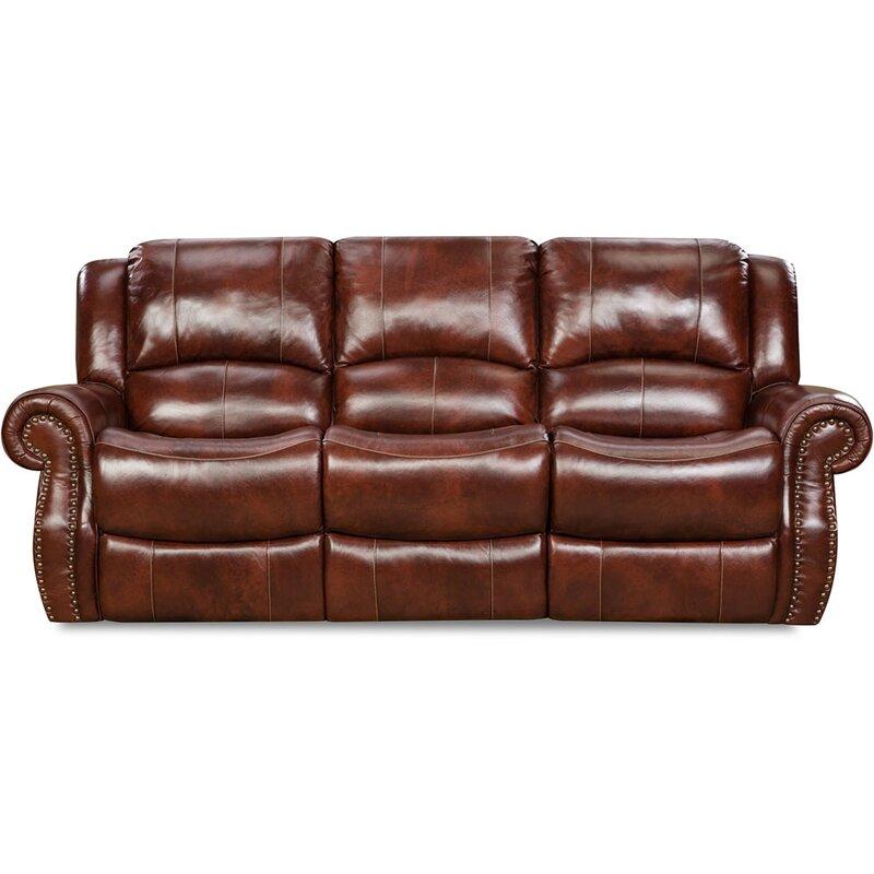 Darby Home Co Additri Leather Reclining Sofa   Wayfair