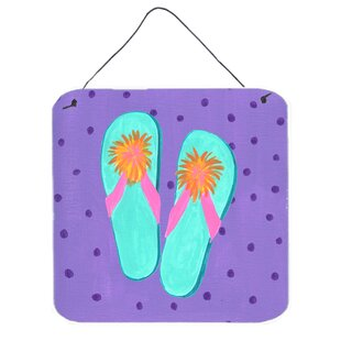 Flip Flops Purple Print Plaque  sc 1 st  Wayfair & Metal Flip Flop Wall Art | Wayfair