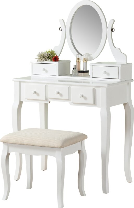 Zeke Wood Makeup Vanity Set with MirrorZeke Wood Makeup Vanity Set with Mirror   Reviews   Joss   Main. Mirrored Makeup Vanity Set. Home Design Ideas