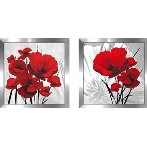 Big Red Poppies' 2 Piece Framed Graphic Art Print Set Under Glass