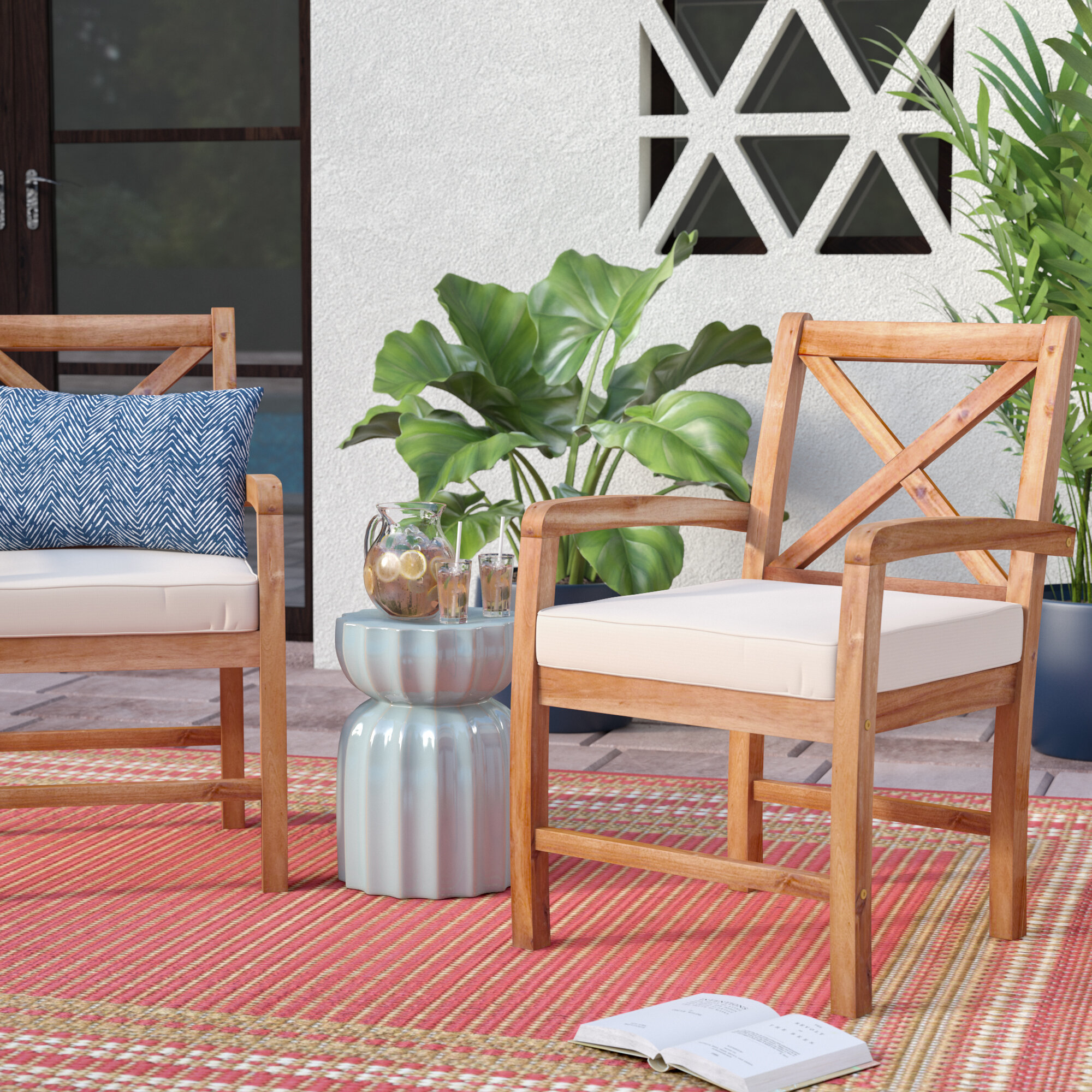 Rosecliff Heights Calvert X Back Acacia Patio Chair with Cushions