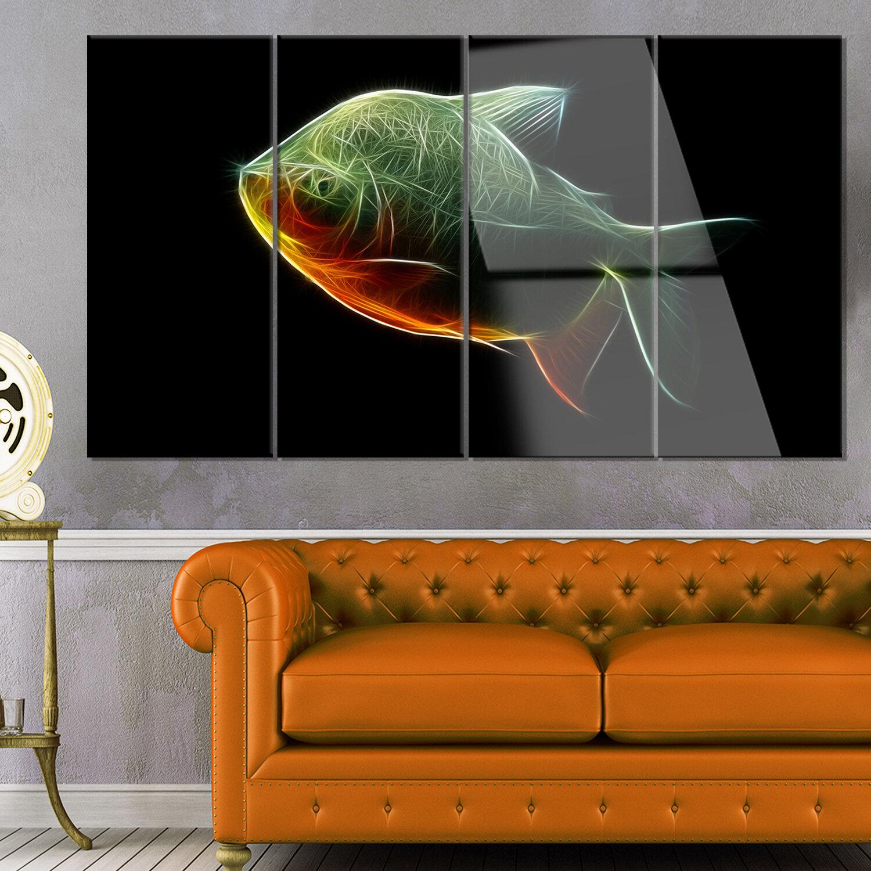 Designart Fractal Pacu Fish On Black 4 Piece Graphic Art