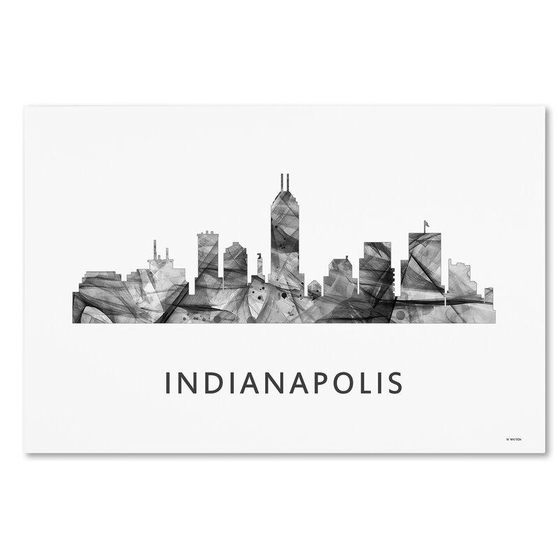 trademark art indianapolis indiana skyline wb bw by marlene watson