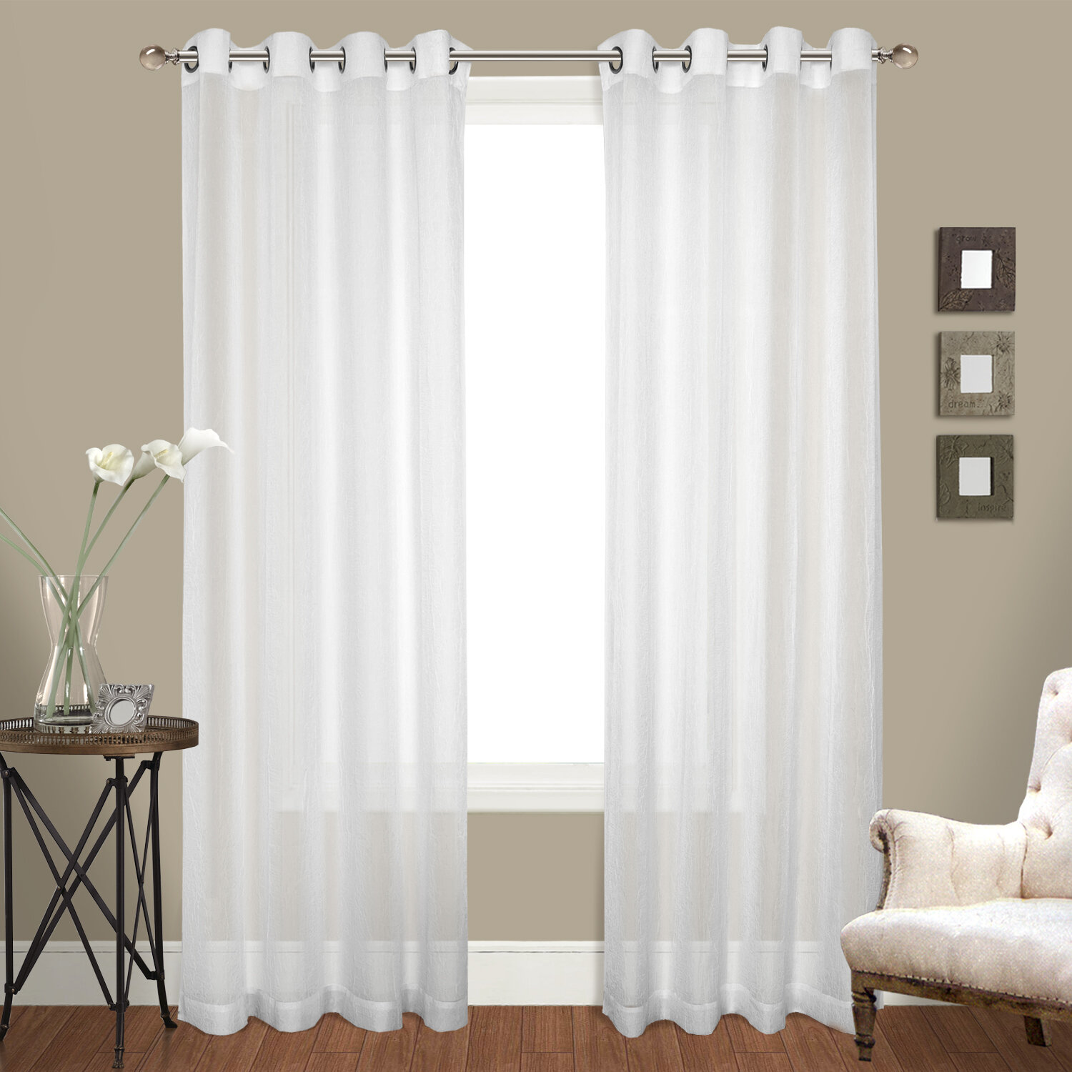 Cranston Solid Sheer Grommet Curtain Panels Set Of 2