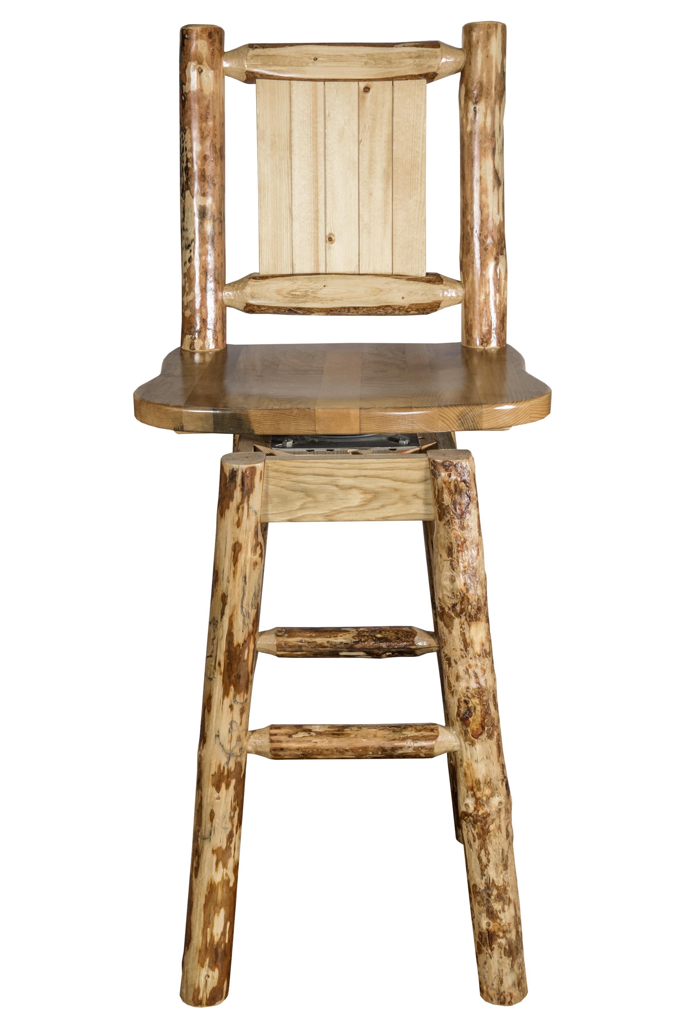 Loon Peak Tustin 24 Square Seat Wood Swivel Bar Stool Wayfair