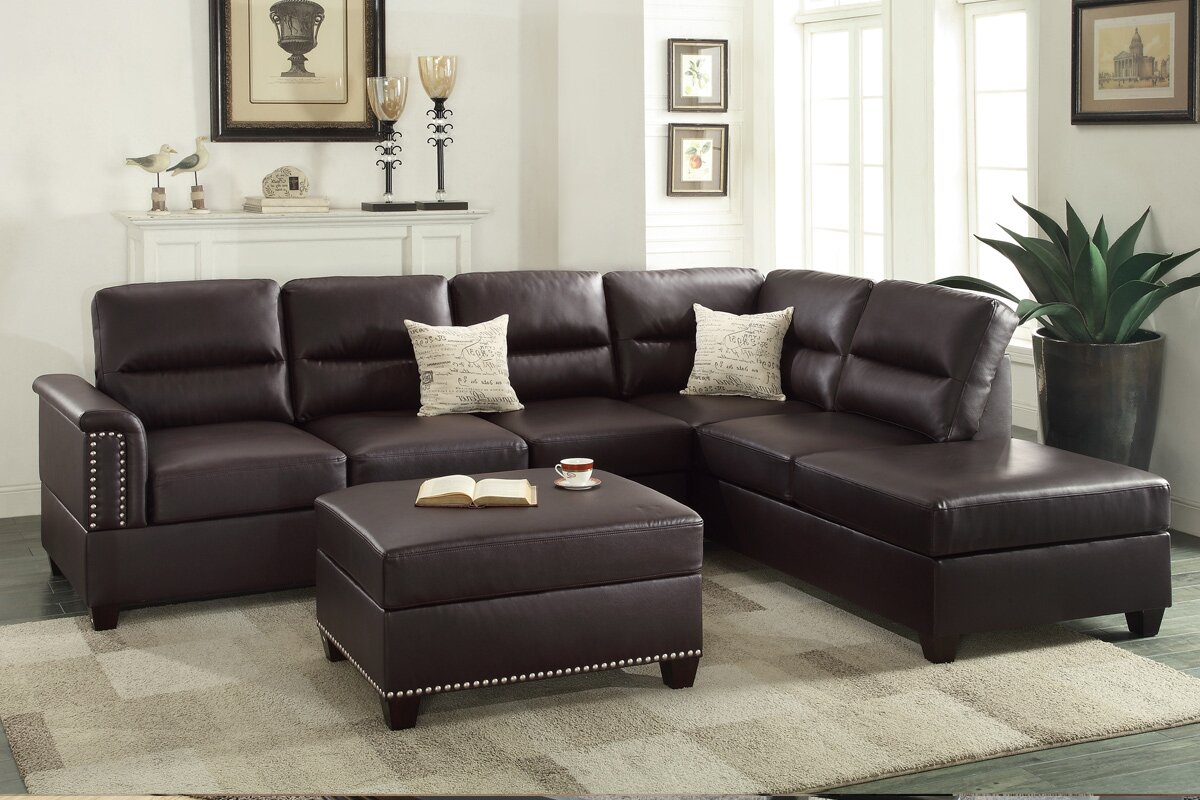 Poundex Bobkona Toffy Reversible Sectional With Ottoman