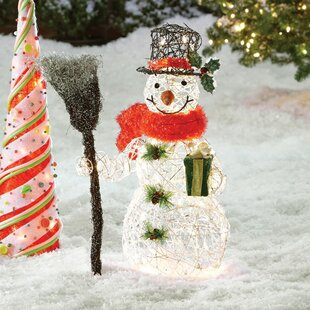 snowman christmas decoration with clear lights