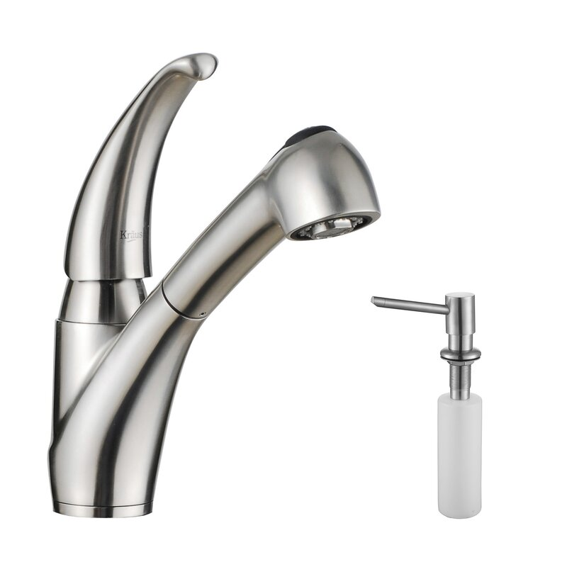 stainless steel bathroom sinks. Stainless Steel Pull Out Kitchen Faucet with Soap Dispenser Bathroom Sink Kraus