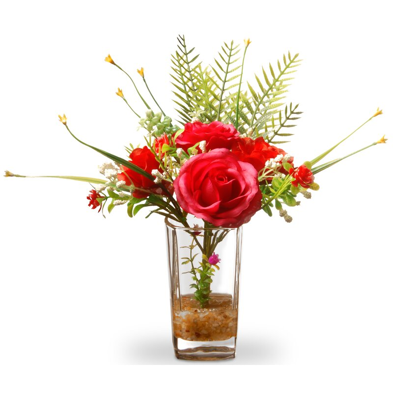 Winston Porter Red Roses In Glass Vase Reviews Wayfair