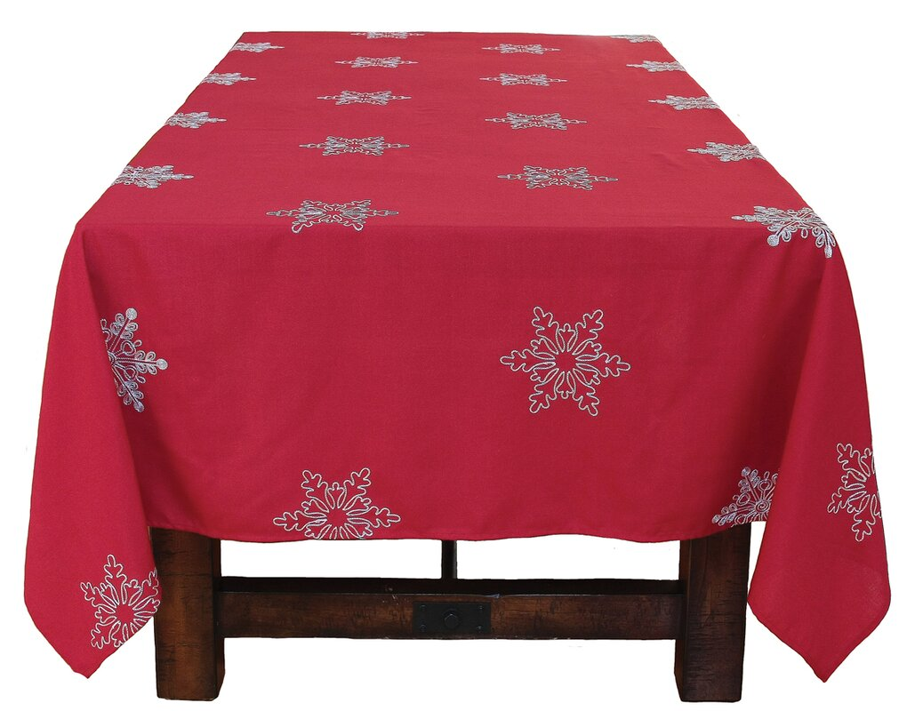 Snowy Noel Embroidered Snowflake Christmas Tablecloth