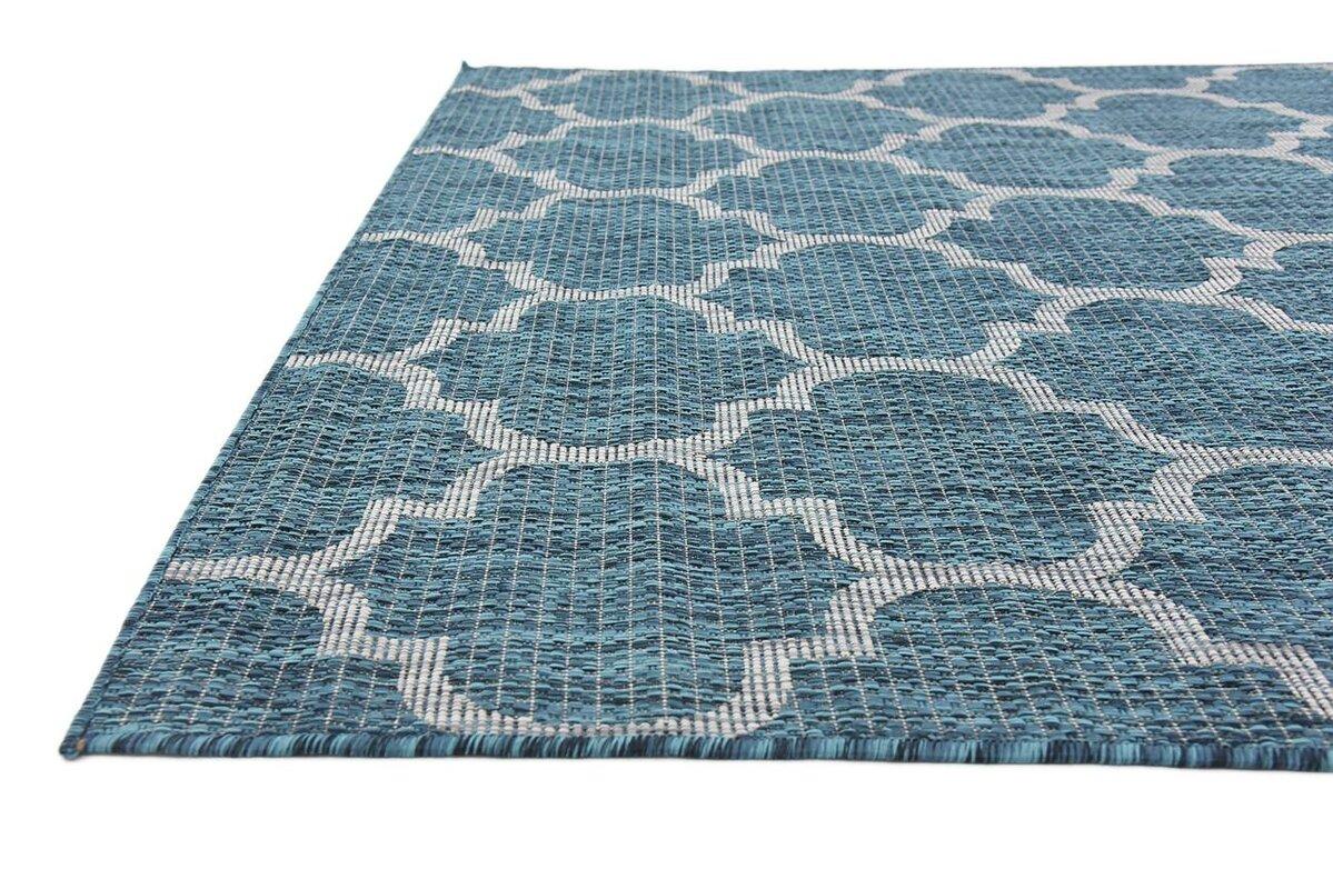charlton home enola teal grey outdoor area rug reviews wayfair. Black Bedroom Furniture Sets. Home Design Ideas