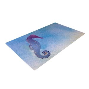 Infinite Spray Art Seahorse Painting Blue Area Rug