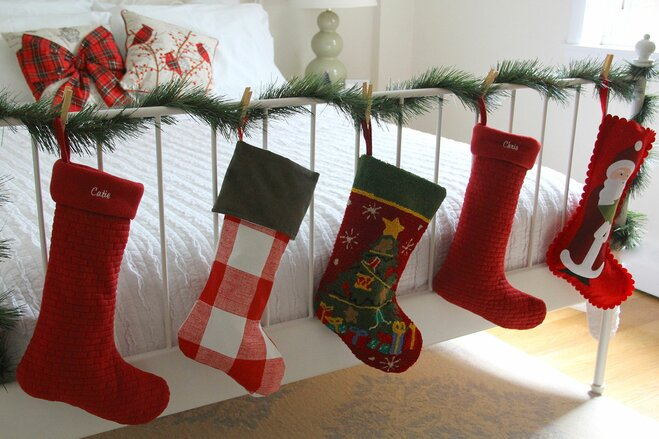 at the end of the bed - Christmas Stocking Decorating Ideas
