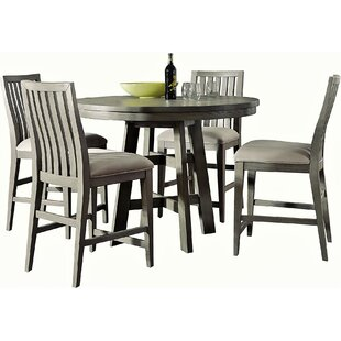 Pingree 5 Piece Counter Height Solid Wood Dining Set