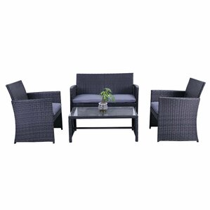 Lampkins Rattan Patio Furniture 4 Piece Sofa Seating Group