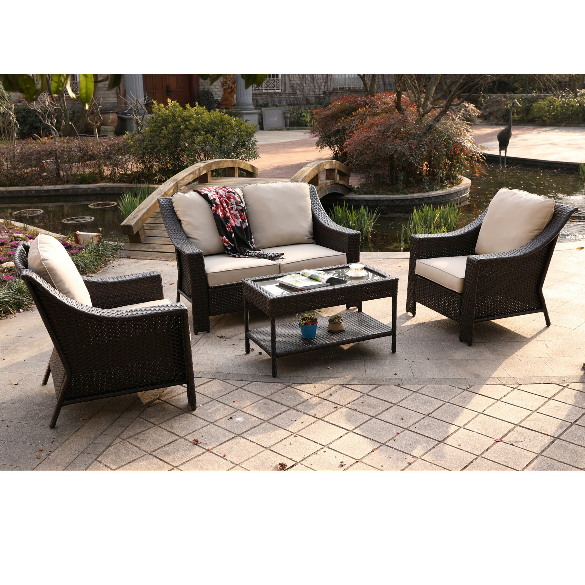 Birch lane heritage kinley 4 piece rattan sofa seating group with cushions birch lane