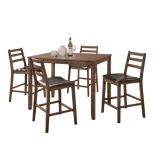 Kinnison 5 Piece Counter Height Solid Wood Dining Set