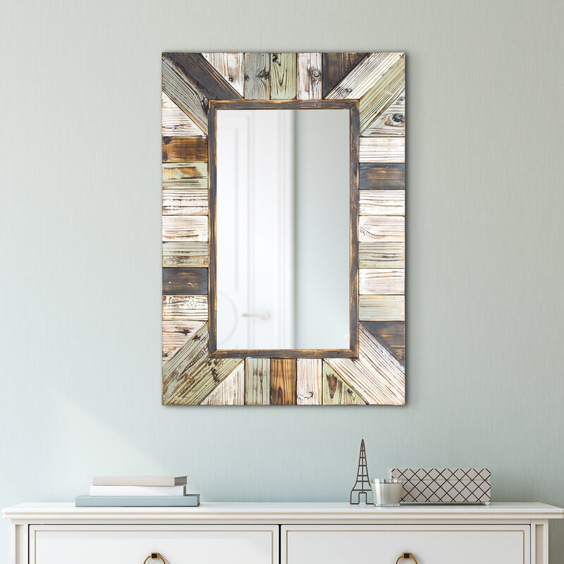 Whitlock Rustic Wood Plank Rectangular Framed Wall Mirror