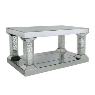 Sheppard Pillar Mirrored Coffee Table With Storage By Rosdorf Park - Mirrored coffee table with storage