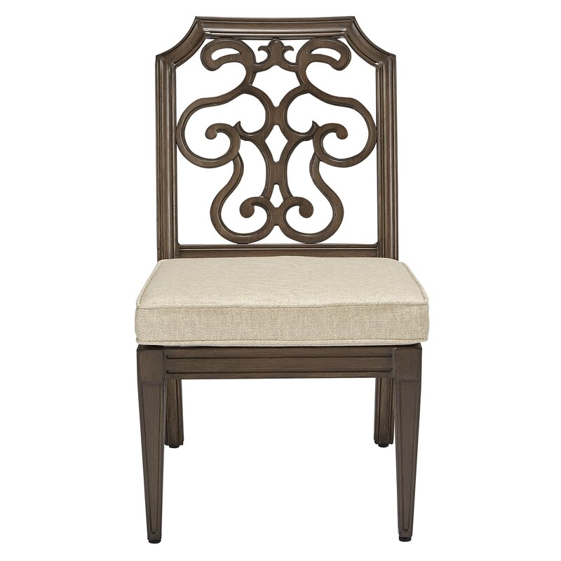 Canora Grey Hargrave Patio Dining Chair with Cushion  Frame Color: Tan