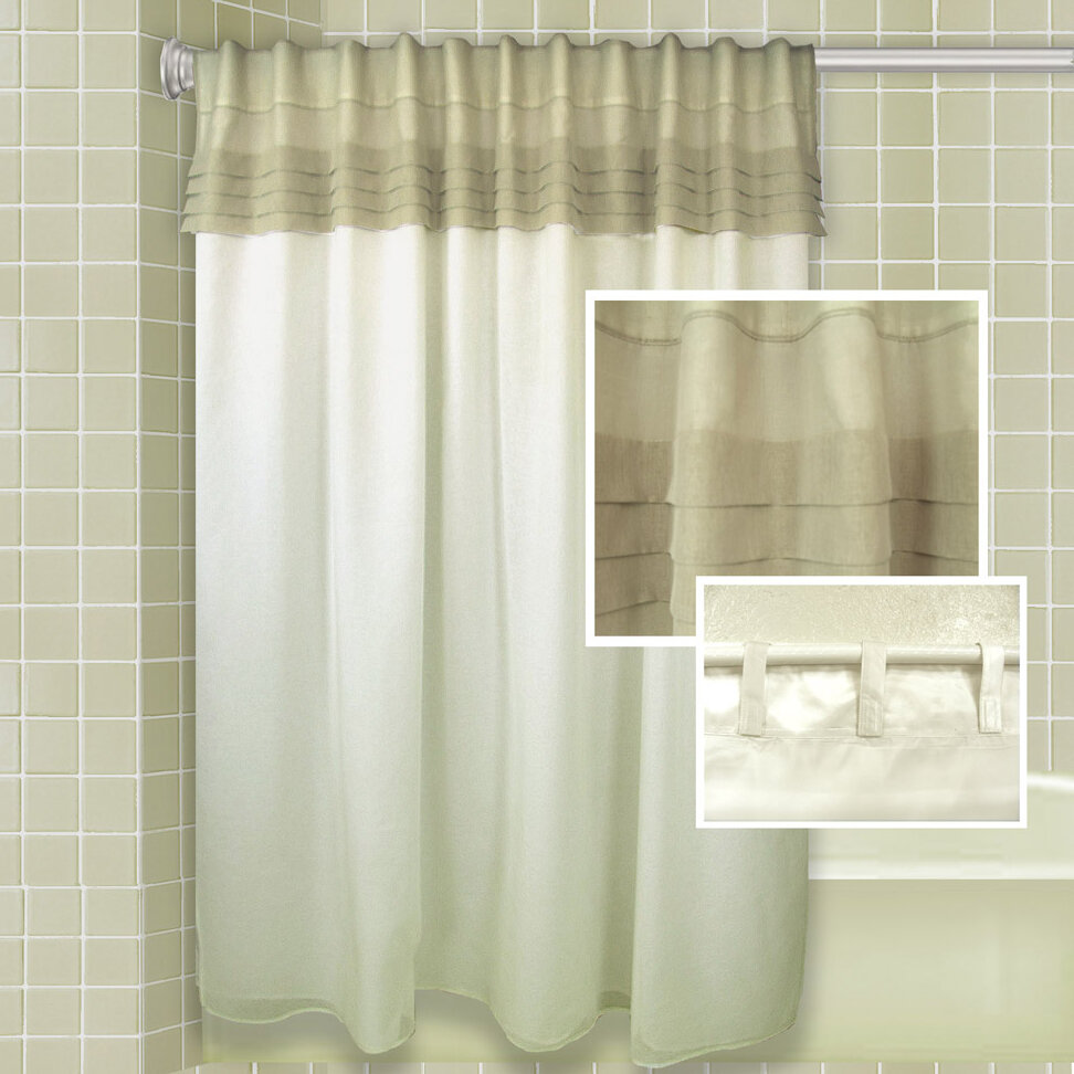 One allium way merle all in one shower curtain set for Unusual ways to hang curtains