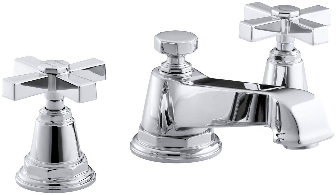 Kohler Pinstripe Pure Widespread Bathroom Sink Faucet with Cross ...