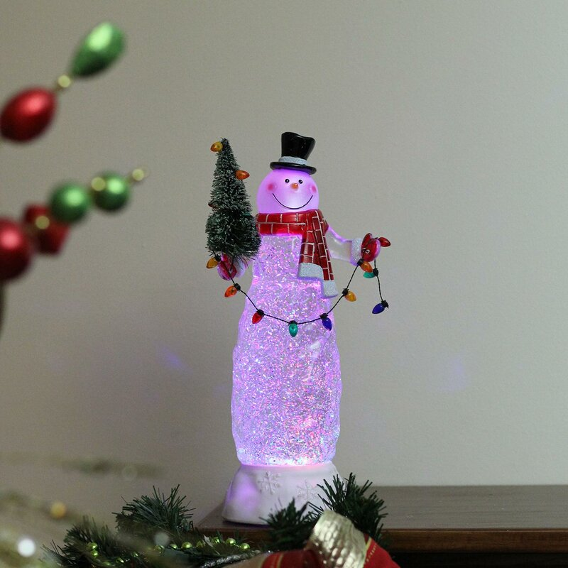 The Holiday Aisle Swirling Glitter LED Lighted Snowman Christmas Indoor Decoration & Reviews   Wayfair