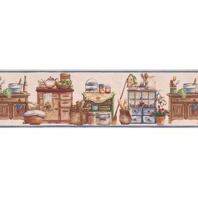 Bourke vintage kitchen wooden chests food jars baskets bowls country 7 l x 180 w wallpaper border