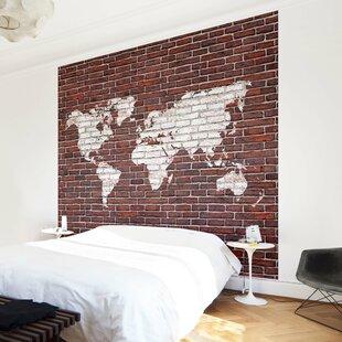 World map wallpaper wayfair world map on brick semi gloss wallpaper roll gumiabroncs Gallery