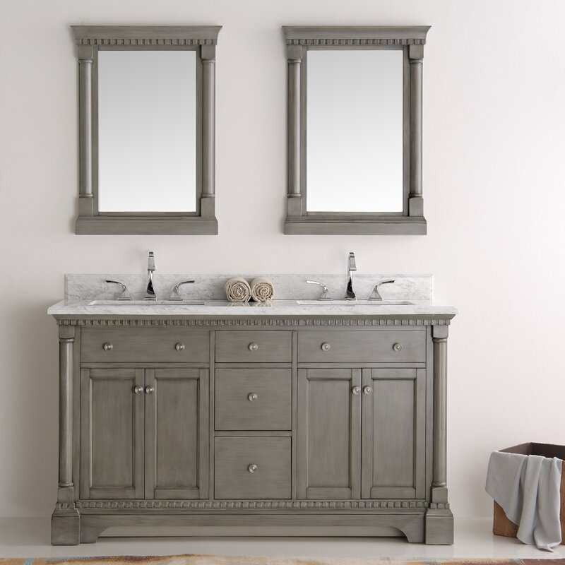 Fresca kingston 60 double sink bathroom vanity with for Bathroom design kingston