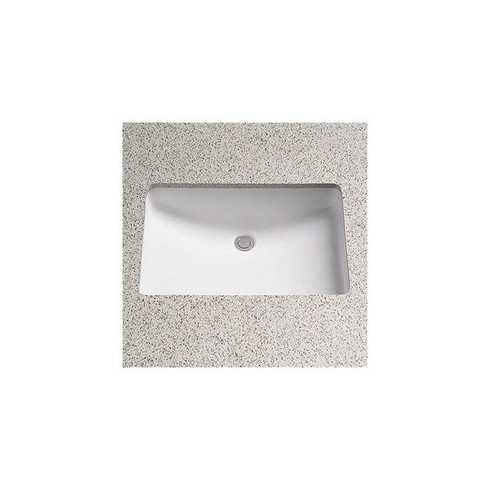 lavabo de salle de bain rectangulaire encastré en porcelaine vitreuse avec  trop-plein Augusta