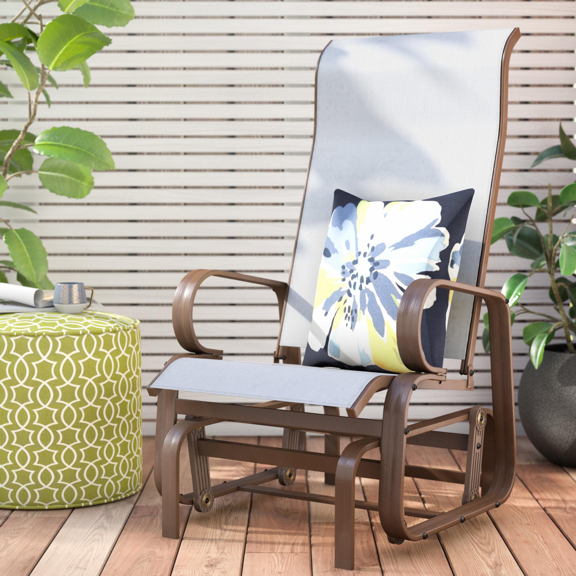 Winston Porter Swick Outdoor Mesh Fabric Patio Glider Chair Reviews Wayfair
