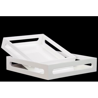 Turn on the Brights Westwick 2 Piece Square Serving Tray Set Color: White