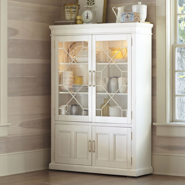 Lisbon Solid Rubberwood Lighted China Cabinet & Reviews | Birch Lane