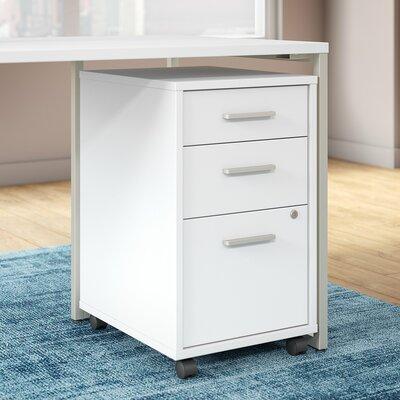 Method 3 Drawer Mobile Vertical Filing Cabinet Bush Business Furniture Finish: White