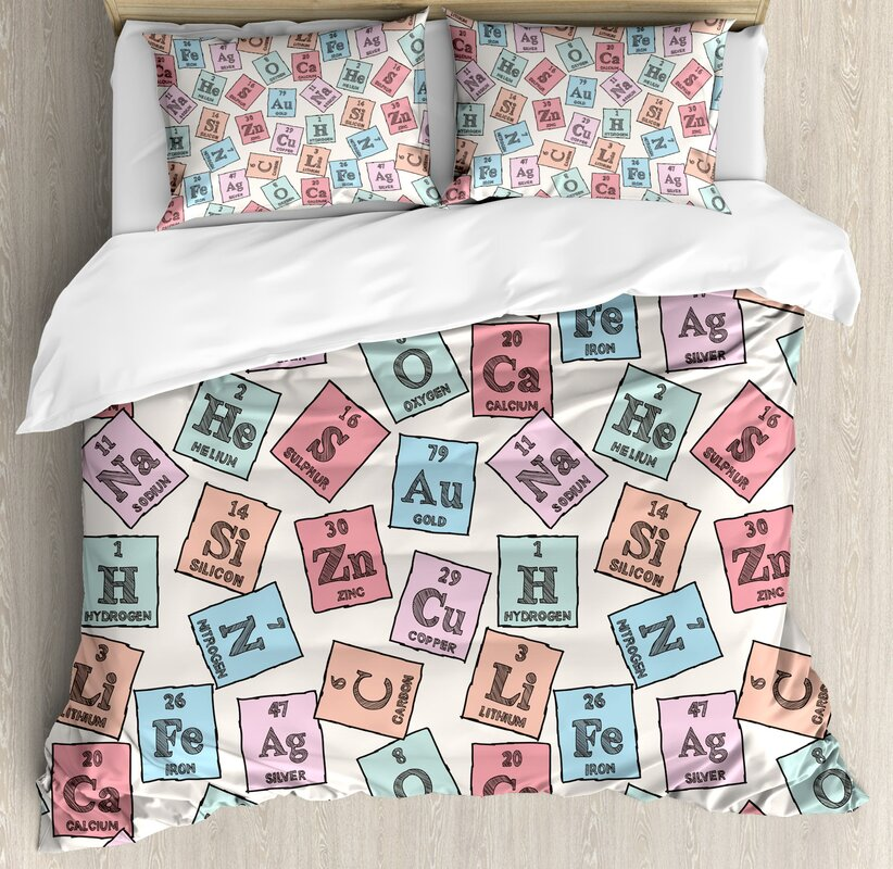 Ambesonne periodic table sketch style chemistry class elements periodic table sketch style chemistry class elements science camp art print duvet set urtaz Image collections