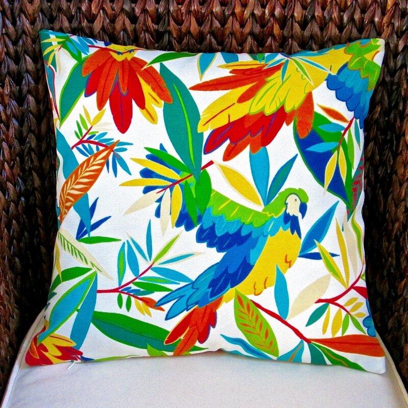 artisan pillows kid s colorful tropical birds indoor outdoor pillow