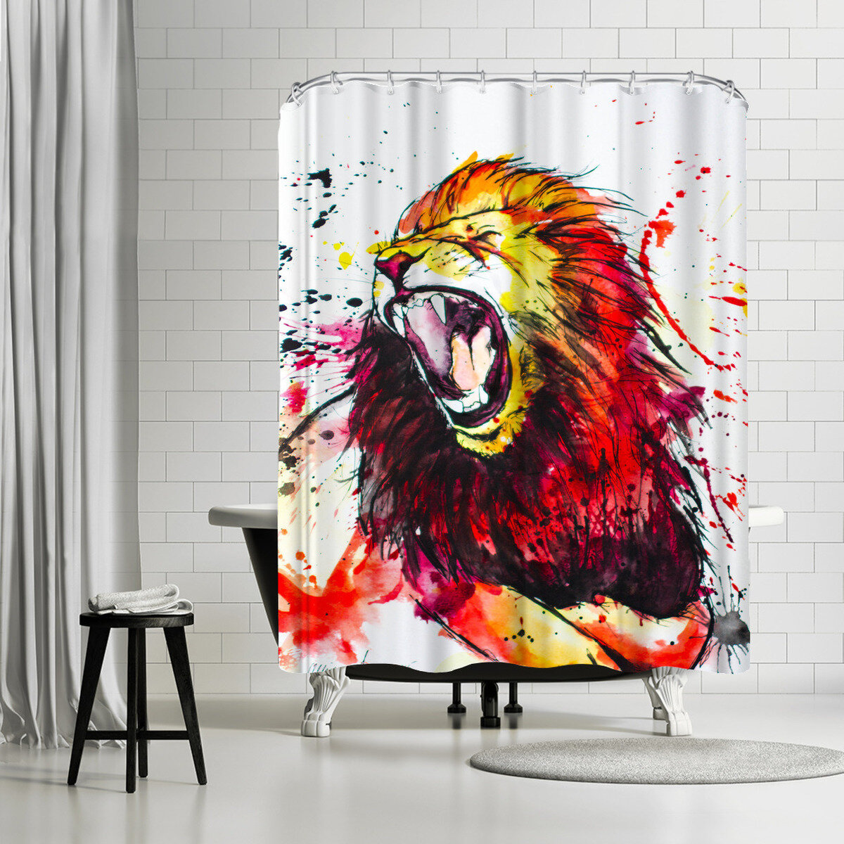East Urban Home Allison Gray Roaring Lion Shower Curtain